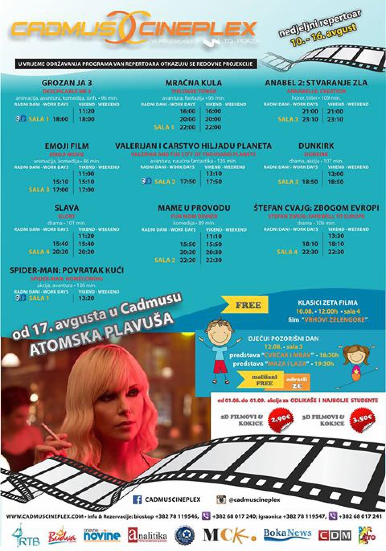 Cadmus cineplex: Novi bioskopski repertoar od 10. do 16. avgusta