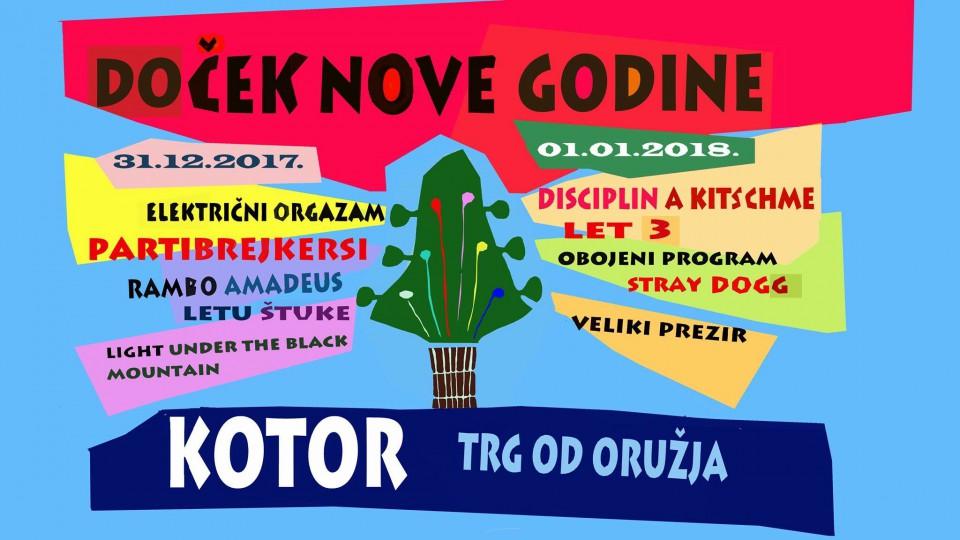 Doček 2018. u Kotoru: Nastupaju Rambo, Partibrejkersi, Električni orgazam...